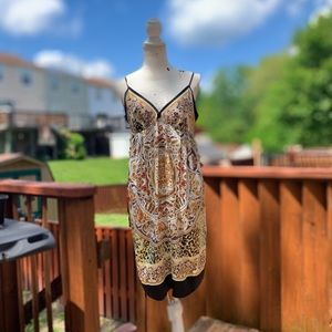 Ice Art Deco Print Strappy A-Lined Dress,  L, EUC